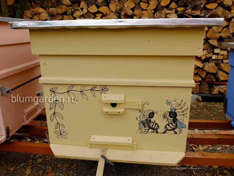 Улей для пчел утепленный с рисунком желтый © blumgarden.ru