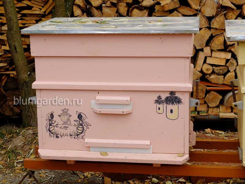 Улей для пчел утепленный розовый с рисунком © blumgarden.ru
